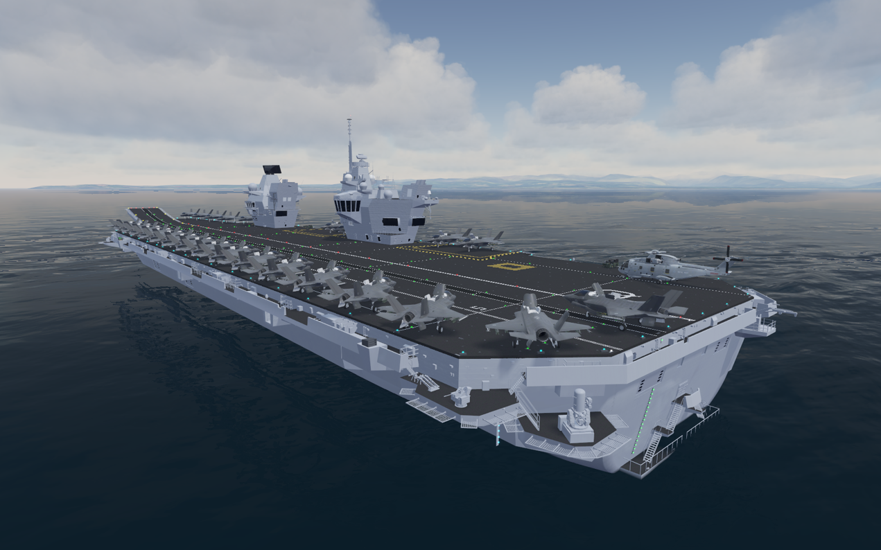 QEC Aircraft Carrier in the BEST 3D scene. Maritime defence ATC.