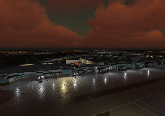Reflections in the 3D airfield scene